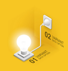 lamp plugged in isometric art vector image vector image