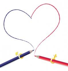 pencils drawing heart vector image vector image