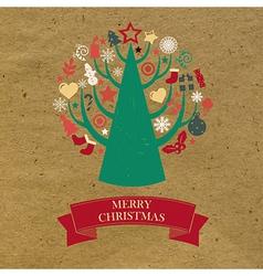 Retro Cardboard Christmas Card vector image