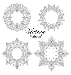 set of round black and white vintage frames vector image vector image