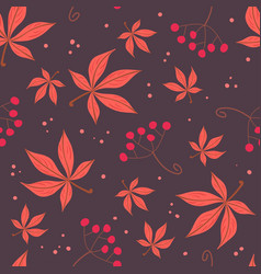 Simple red leaves and berries pattern vector