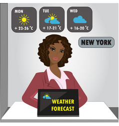 tv weather reporter at work vector image