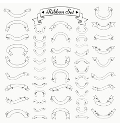 Black Outlined Hand Drawn Ribbons Banners vector image vector image