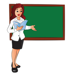 businesswoman with a file pointing at board vector image vector image
