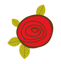 colorful drawing red rose with leaves closeup vector image vector image
