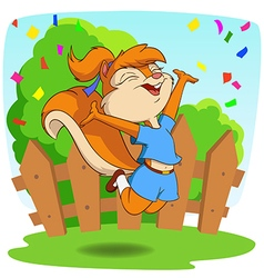 Cute cartoon squirrel in jump fly with background vector image vector image