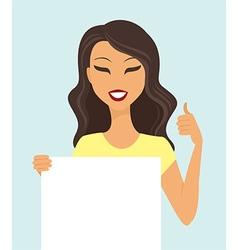 Girl holding a white board vector image vector image