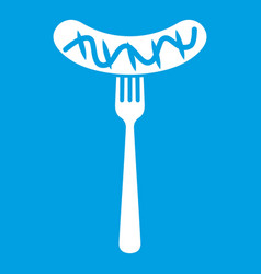 Grilled sausage on a fork mustard icon white vector