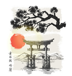 itsukushima shrine japan vector image vector image