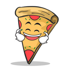 laughing face pizza character cartoon vector image