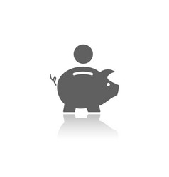 piggy bank icon with reflection on a white vector image