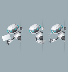 robot look out corner poster in hand pointing on vector image vector image