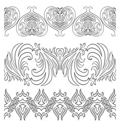 seamless black and white vintage border vector image