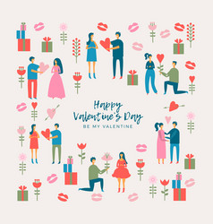 Valentines day adult couples vector