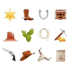 wild west icons vector image vector image