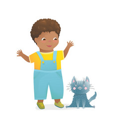 African american kid boy toddler playing vector