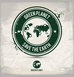alternative green planet stamp vector image