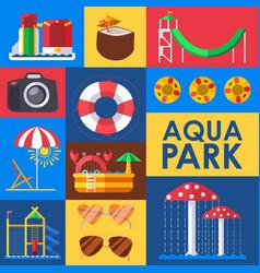 aqua park set stickers vector image