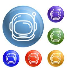 Astronaut helmet icons set vector