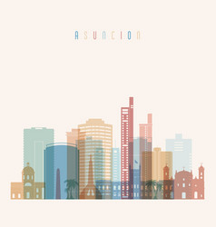 Asuncion skyline detailed silhouette vector