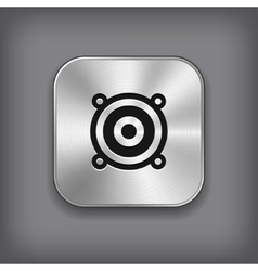 Audio speaker icon - metal app button vector image