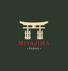 Banner with ritual torii gate miyajima japan vector