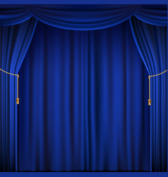 Blue theater curtain vector