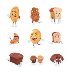 bread characters cartoon cute characters of vector image