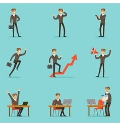 Businessman Work Process Set Of Business Related vector