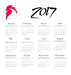 Calendar 2017 with The Red Rooster symbol of 2017 vector