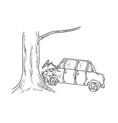 Car accident sketch vector
