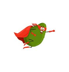 Cartoon avocado superhero isolated icon vector
