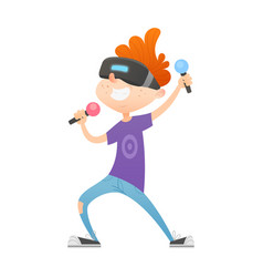 Cartoon boy character in virtual reality glasses vector