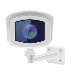 cctv security camera front view white vector image