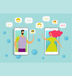 characters communicate telephone during vector image