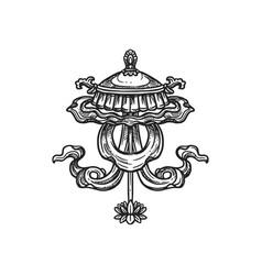 Chatra umbrella buddhism religion symbol sketch vector