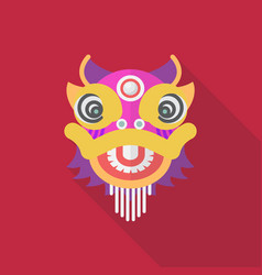 Chinese dancing lion in flat style vector