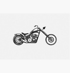 chopper motorcycle silhouette side view hand drawn vector image