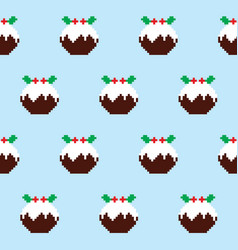 Christmas pudding seamless pattern vector