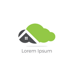 cloud home logo real estate icon vector image