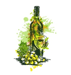Colored Hand drawing Wine Still Life vector image