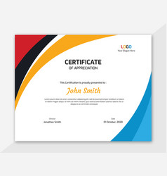 Colored waves certificate design vector