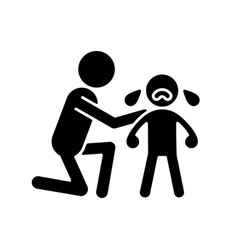 Comforting crying child black glyph icon vector