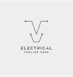 Connect or electrical v logo design icon element vector