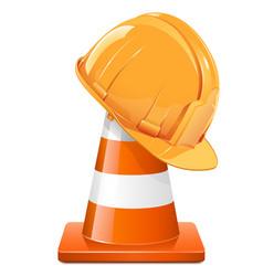 Construction cone with helmet vector