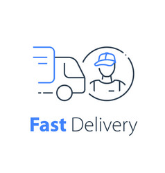 Courier delivery truck transportation company vector