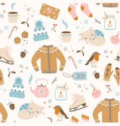 Cozy christmas pattern vector