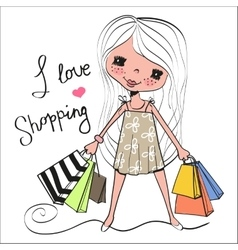 Cute cartoon girl with bags vector image
