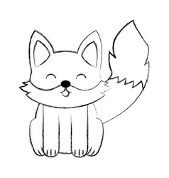 Cute sketch fox cartoon vector