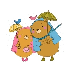 cute teddy bear under an umbrella vector image